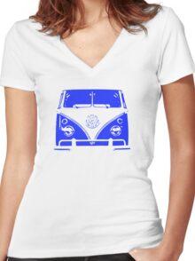 VW Kombi - Blue Women's Fitted V-Neck T-Shirt
