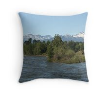 The Fast Flowing Bitterroot River In Western Montana Throw Pillow
