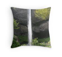 Latourel Falls In The Columbia River Gorge Scenic Area - Oregon Throw Pillow