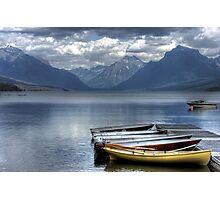 Docked Canoes Photographic Print