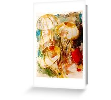 Jellyfish Gelliprint in colour Greeting Card