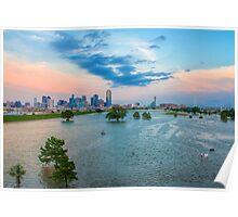 Flooded Trinity River Dallas Skyline Poster