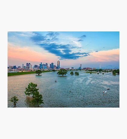Flooded Trinity River Dallas Skyline Photographic Print
