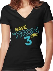Save Tron 3 [color] Women's Fitted V-Neck T-Shirt