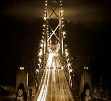 Lions Gate Bridge Backlit by Grouse Mountain by Ryan Watts