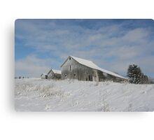 Winter Barn Scene In Northern Idaho Canvas Print