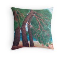 Pines at Psili Ammos, Samos Throw Pillow