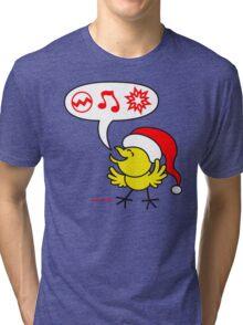 Christmas Chicken making a Wish! Tri-blend T-Shirt