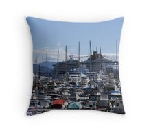 Crowded Harbour - Monaco Throw Pillow