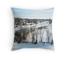 Winter on the Mississippi (Savanna, IL) Throw Pillow