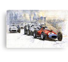 Red Car Ferrari 801 German GP 1957 Canvas Print