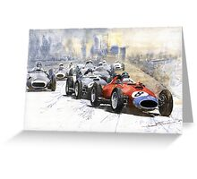 Red Car Ferrari 801 German GP 1957 Greeting Card