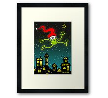 Christmas Frog Jumping out of Joy! Framed Print