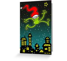 Christmas Frog Jumping out of Joy! Greeting Card