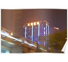 A cityscape of neon lights Poster