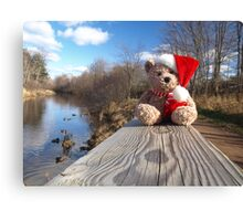 Christmas bear waiting for Santa Canvas Print