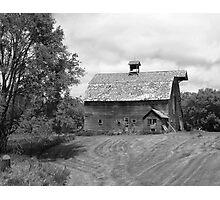 Barn on bluff overlooking the Elk Horne River, Nebraska Photographic Print
