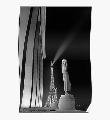 Eiffel Tower at night from the Trocadero, Paris Poster