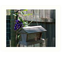 Birdhouse and Blue Flower Art Print