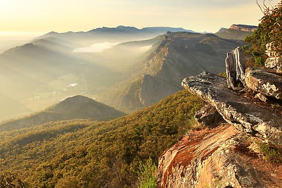 Boroka Lookout Dawn, Grampians, Australia by Michael Boniwell
