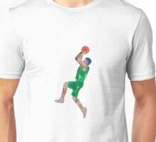 Basketball Player Jump Shot Ball Low Polygon Unisex T-Shirt