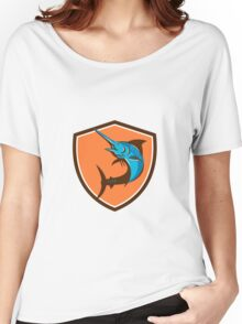 Blue Marlin Fish Jumping Shield Retro Women's Relaxed Fit T-Shirt