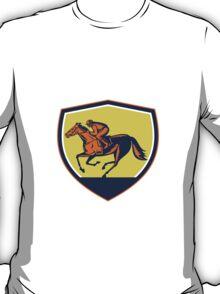 Jockey Horse Racing Shield Woodcut T-Shirt
