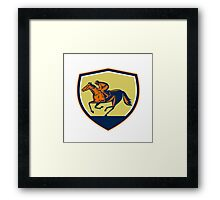 Jockey Horse Racing Shield Woodcut Framed Print