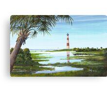 Morris Island Lighthouse w/ Palmetto Folly Beach, SC A020 Canvas Print