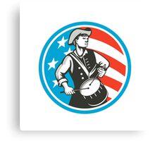 American Patriot Drummer USA Flag Circle Retro Canvas Print