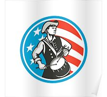American Patriot Drummer USA Flag Circle Retro Poster