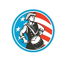 American Patriot Drummer USA Flag Circle Retro Photographic Print