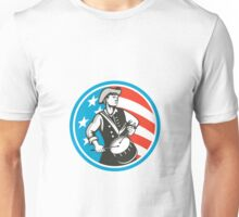 American Patriot Drummer USA Flag Circle Retro Unisex T-Shirt