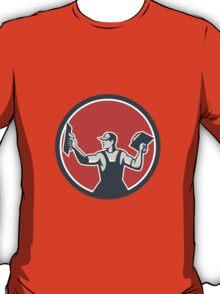 Plasterer Masonry Trowel Circle Retro T-Shirt