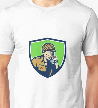 World War Two American Soldier Talk Radio Shield Unisex T-Shirt