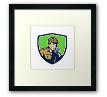 World War Two American Soldier Talk Radio Shield Framed Print