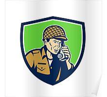 World War Two American Soldier Talk Radio Shield Poster