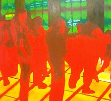 Red and Yellow Inferno Dancefloor by Rebecca Hearl