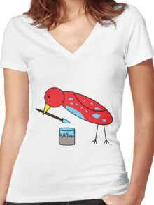 Bird Brush Women's Fitted V-Neck T-Shirt