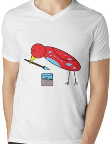 Bird Brush Mens V-Neck T-Shirt