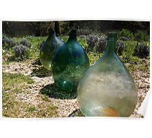 Hand Blown Glass Olive Jugs Poster