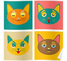 Four cats boredom and fatigue joy malice Poster