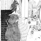 My Aubrey Beardsley Redoux- The Toilet - Pen and Ink by Jack McCabe