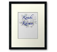 Kombi Karma - Blue text Framed Print