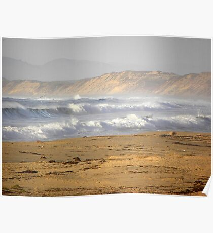 Stormy Seaside Surf Poster