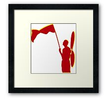 a man with a red flag and propeler  Framed Print