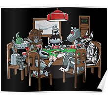 Robot Dogs Playing Poker Poster