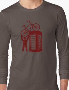 Telephone booth box  with a man and s bike on a roof symbol  Long Sleeve T-Shirt