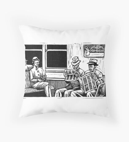 New York Subway Ride, 1950's Throw Pillow