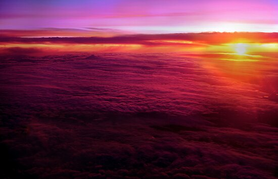 Sunset from 30,000 feet by Bob Webb
